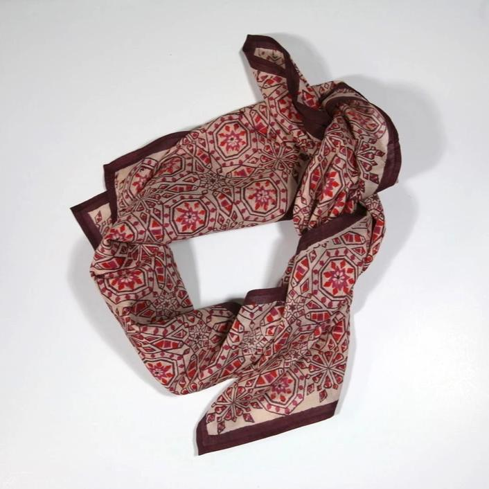 Cotton/Silk Scarf Square in Hand Block Print - Iberia