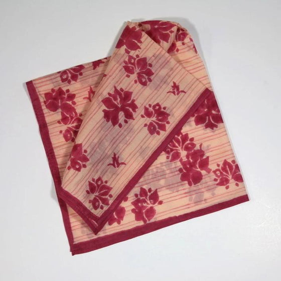 Cotton/Silk Handkerchief in Hand Block Print - Haiku Tea