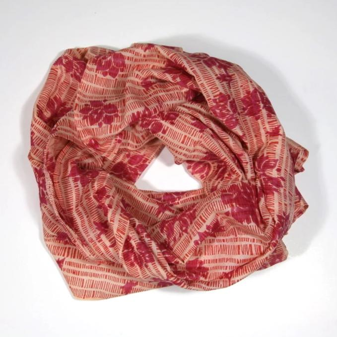 Scarf in Block Printed Haiku Flower Print
