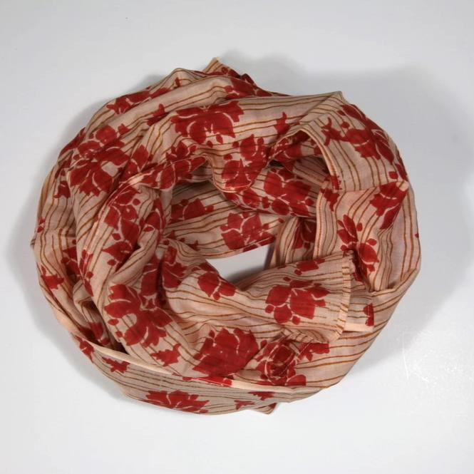Scarf in Block Printed Red Haiku Flower Print