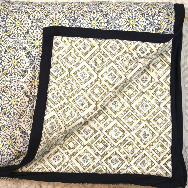 Quilt in Hand Block Marbella Gold Print Twin Size
