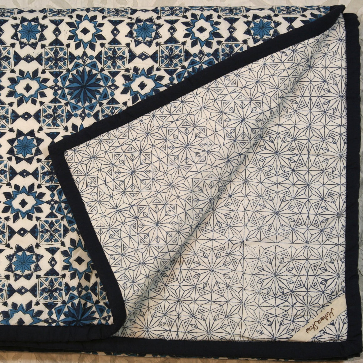 Quilt in Hand Block Azulejo Print Twin Size