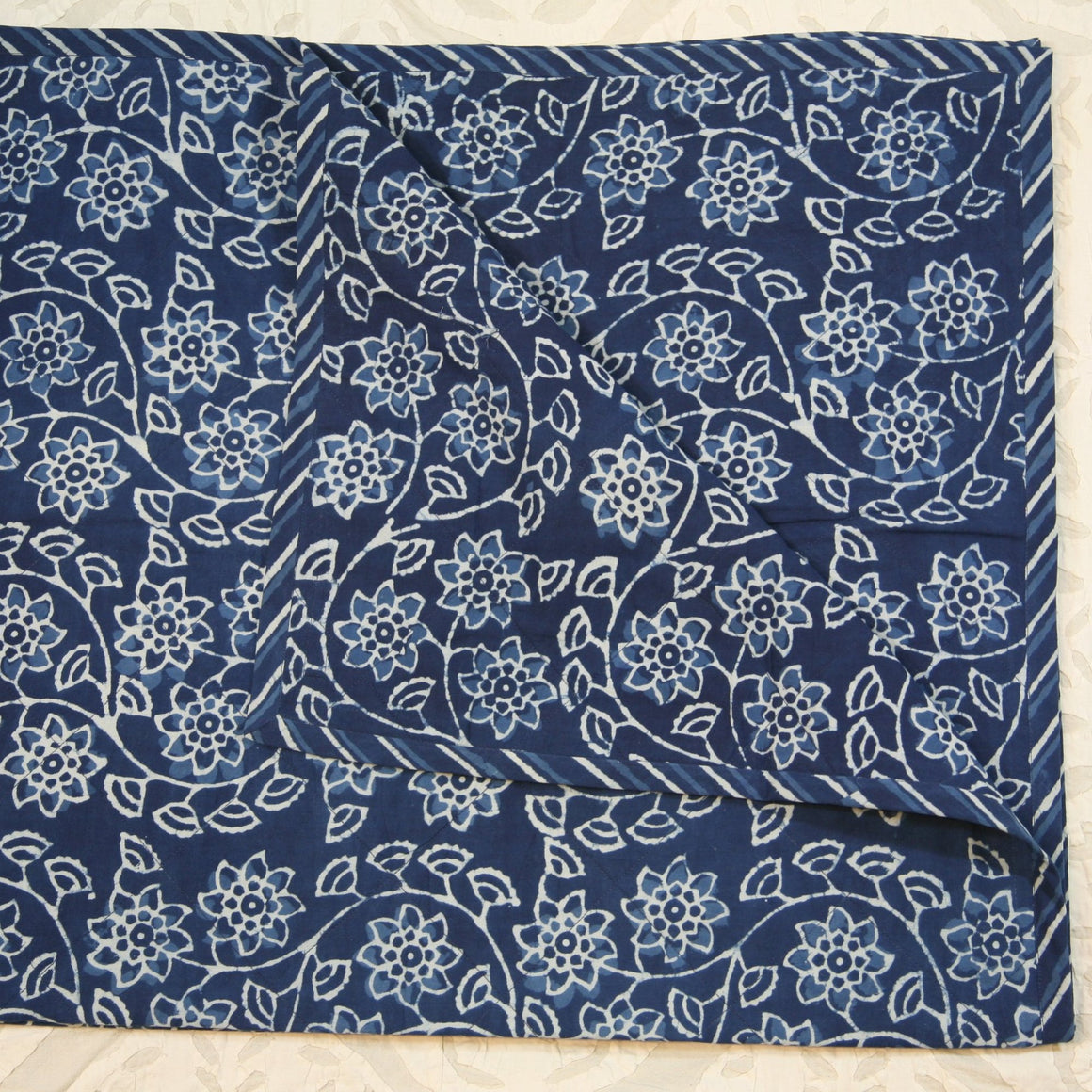 Quilted Couch Throw in Hand Block Indigo Jaal Print