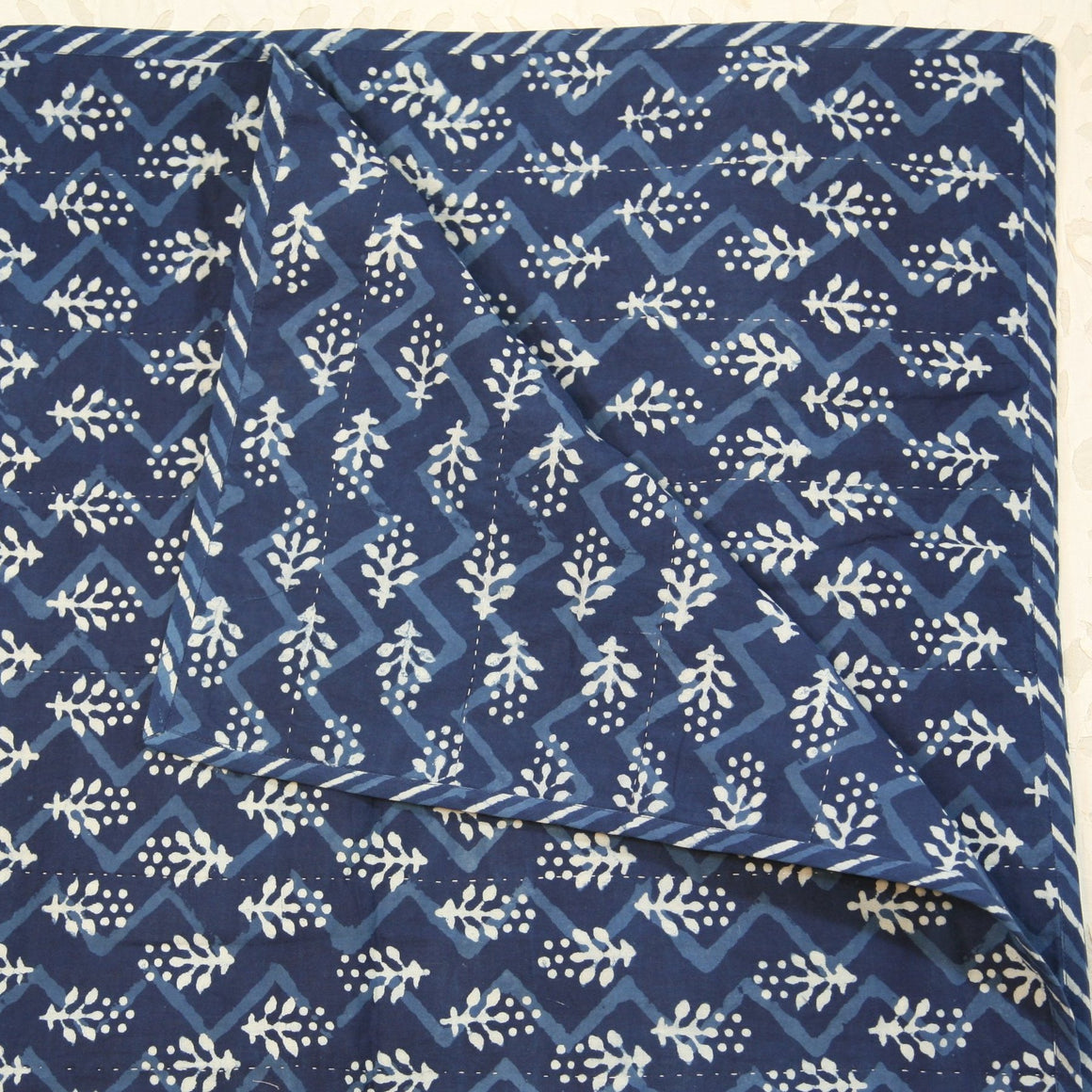 Quilted Couch Throw in Hand Block Indigo Flower Zig Zag Print