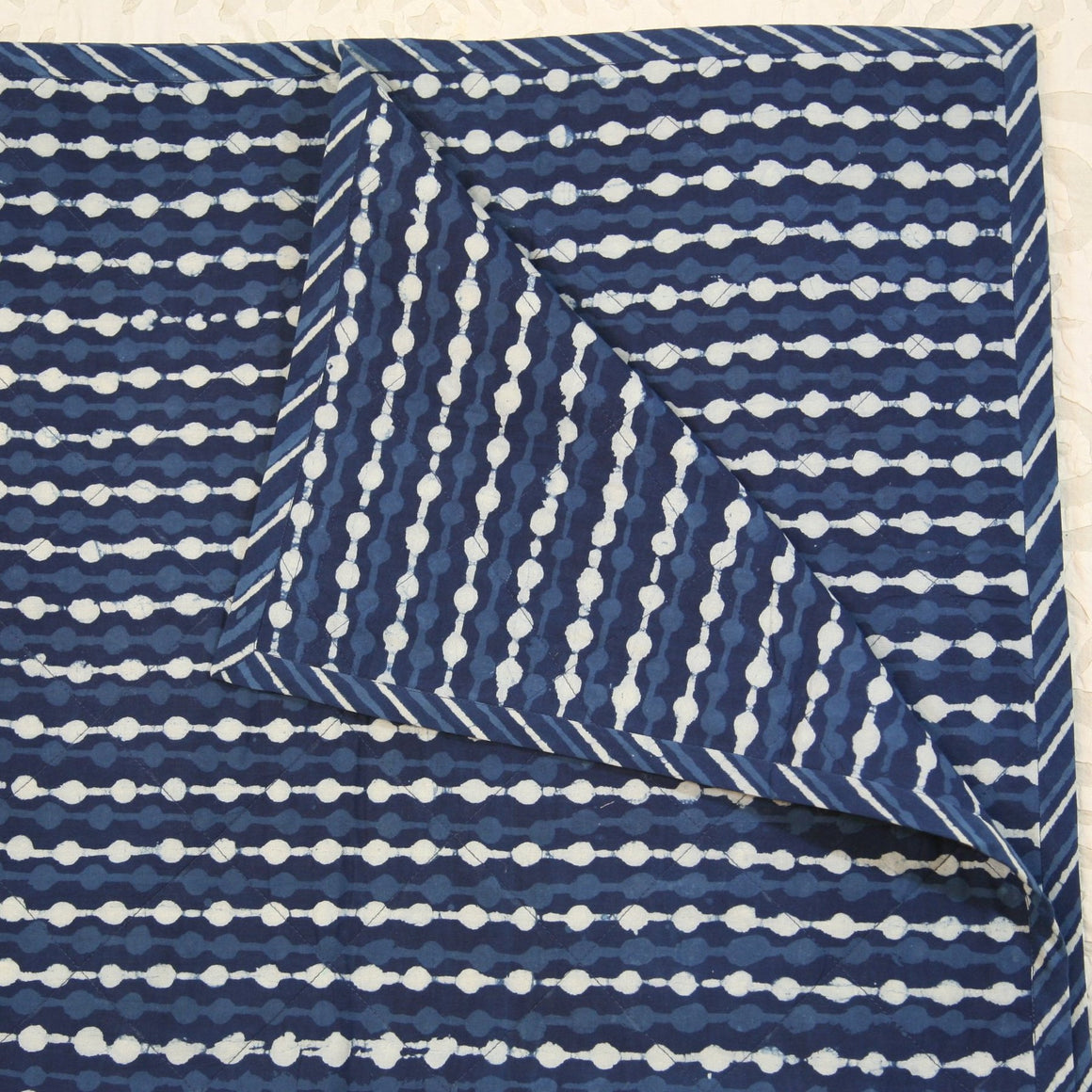 Quilted Couch Throw in Hand Block Indigo Stripes Print
