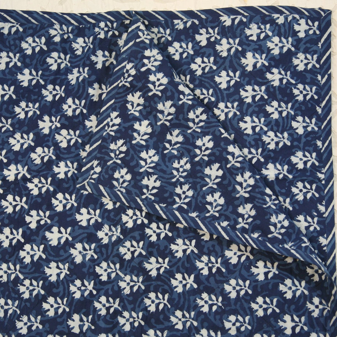 Quilted Couch Throw in Hand Block Indigo Floral Buti Print