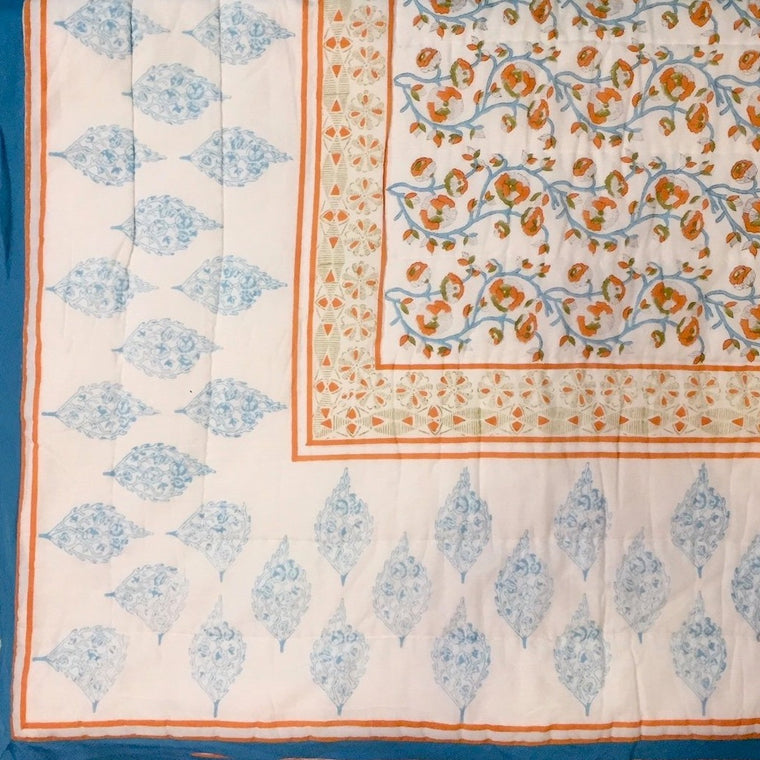 Quilt in hand block printed Barcelona Print