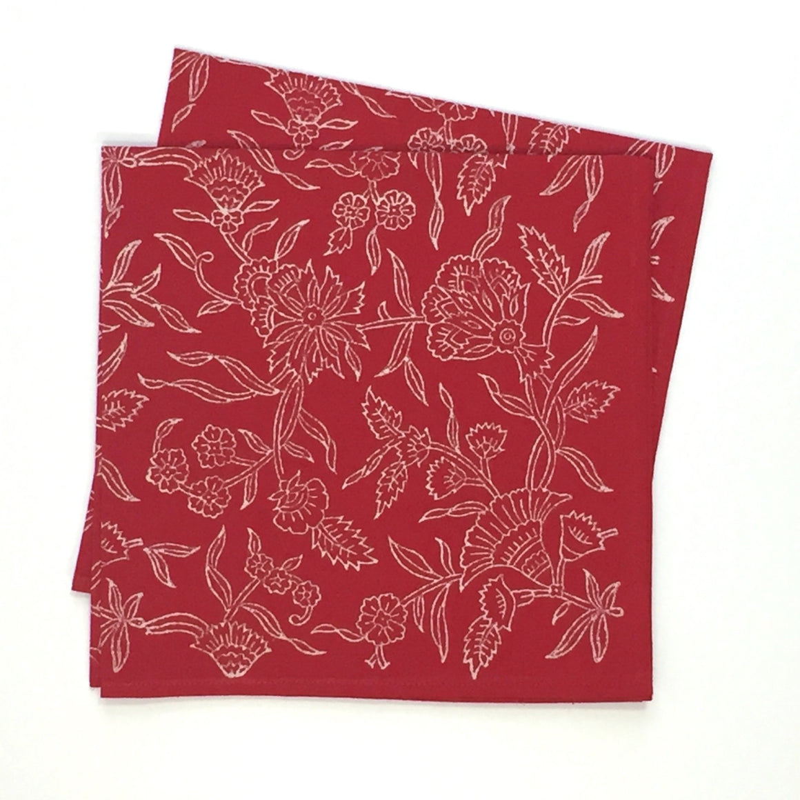 Napkin Set in Block Printed Organic Cotton - Holly Red Print