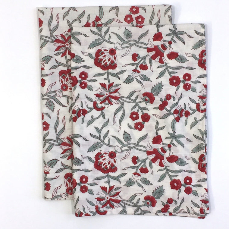 Kitchen Towels in Hand Block Printed Organic Cotton - Holly Print
