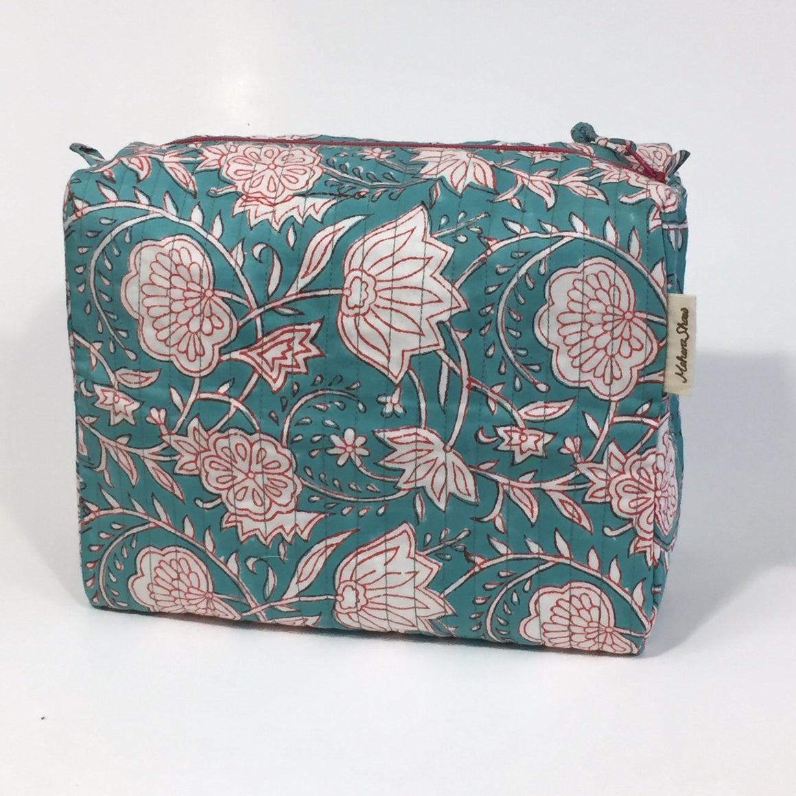 Travel Bag in Maui Turquoise Hand Block Print