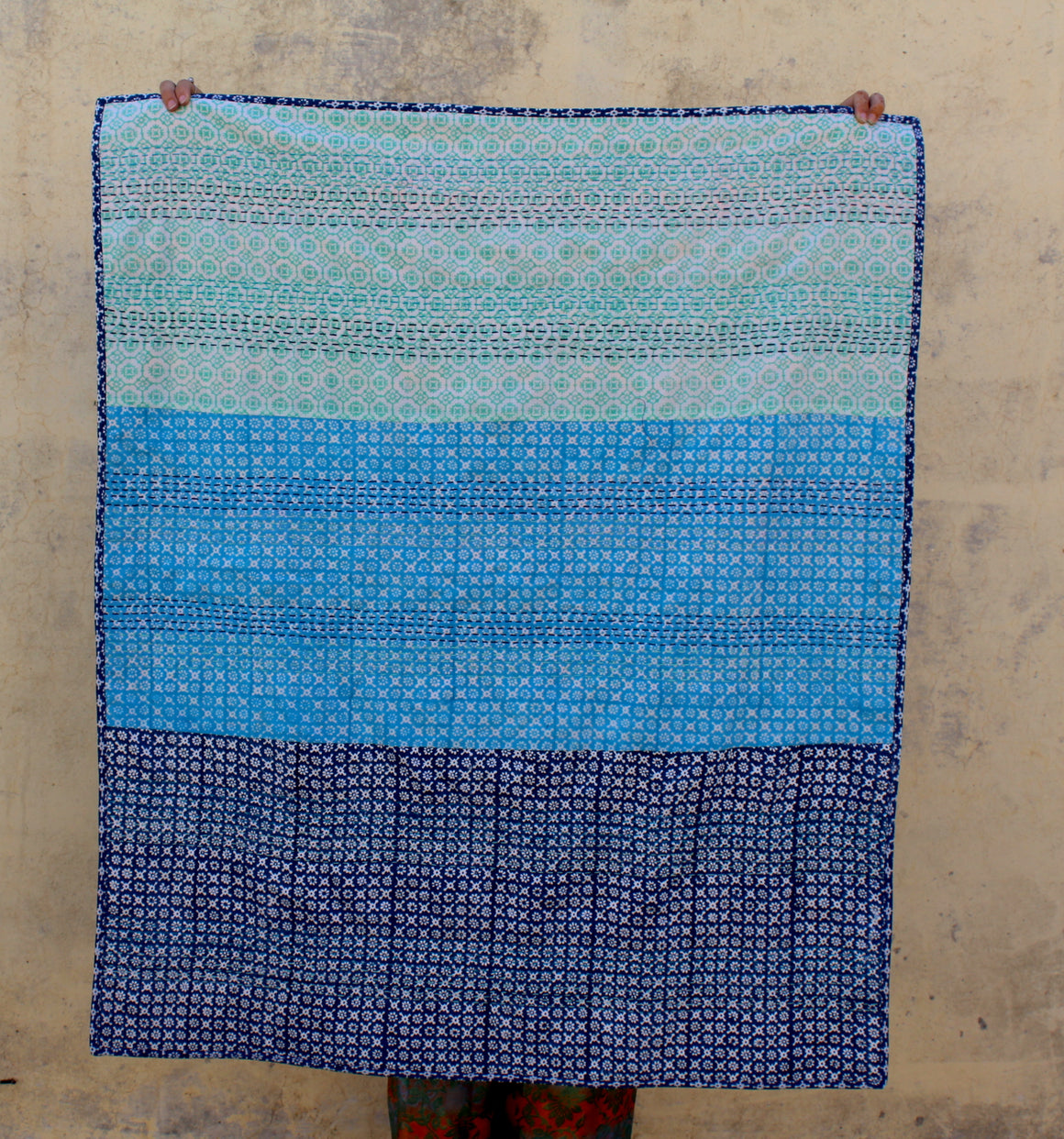 Kantha Stitch Upcycled Couch Throw in Blues