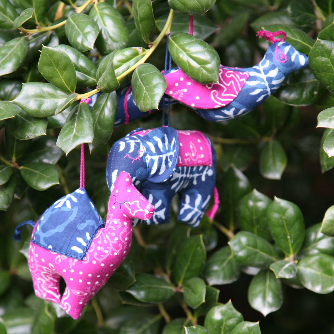 Animals of India Holiday Ornaments - Indigo