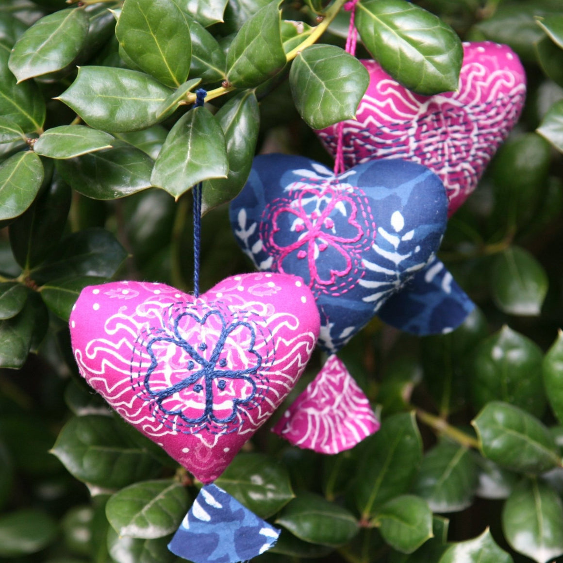 Heart Ornaments - Indigo
