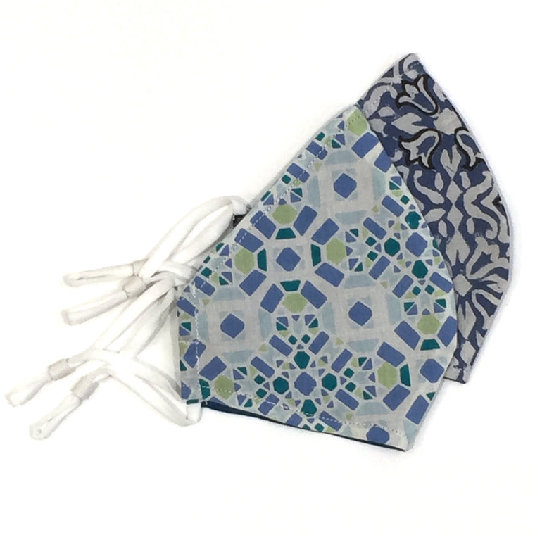 Washable Face Mask in Blues - Block Prints