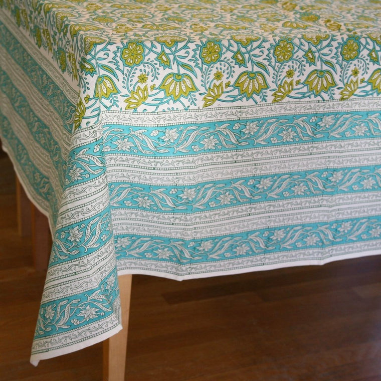 Table Cloth in Hand Block Java Garden Print