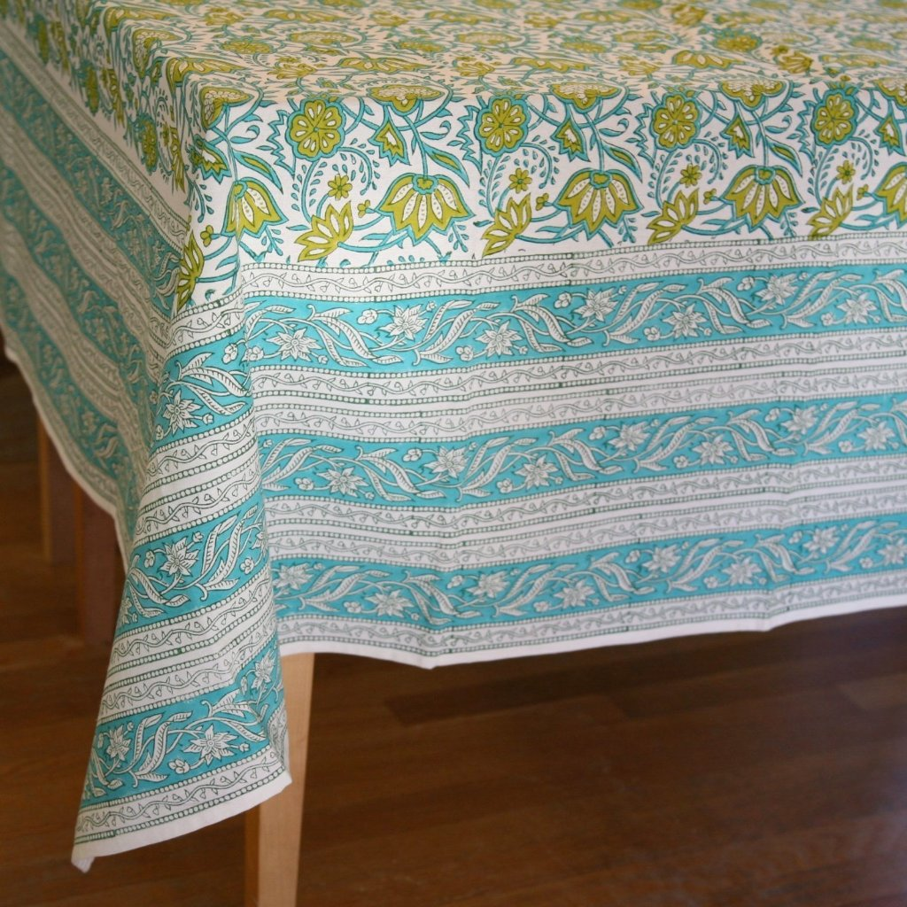 Table Cloth in Hand Block Printed Organic Cotton - Java Garden Print