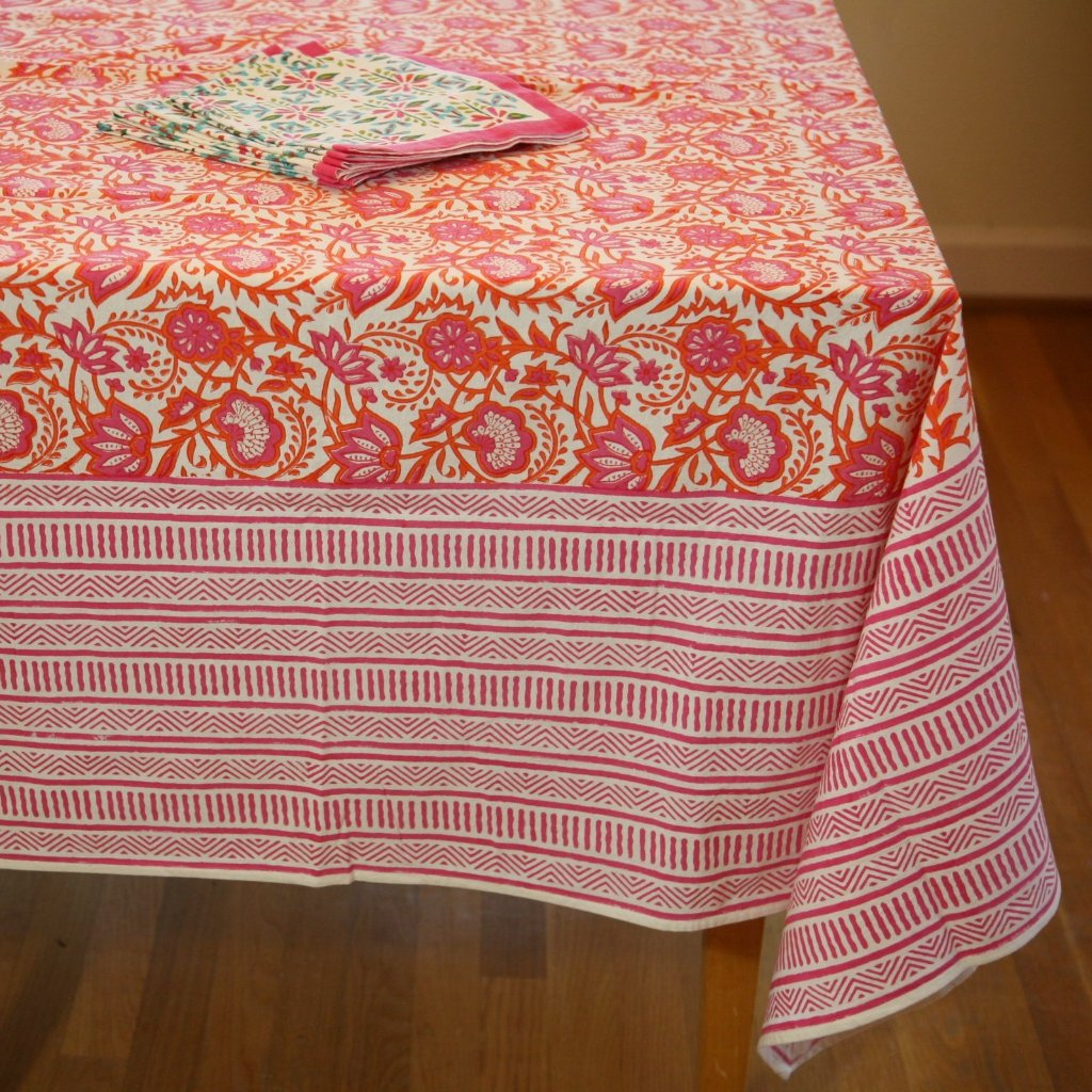 Table Cloth in Hand Block Printed Organic Cotton - Java Spice Print