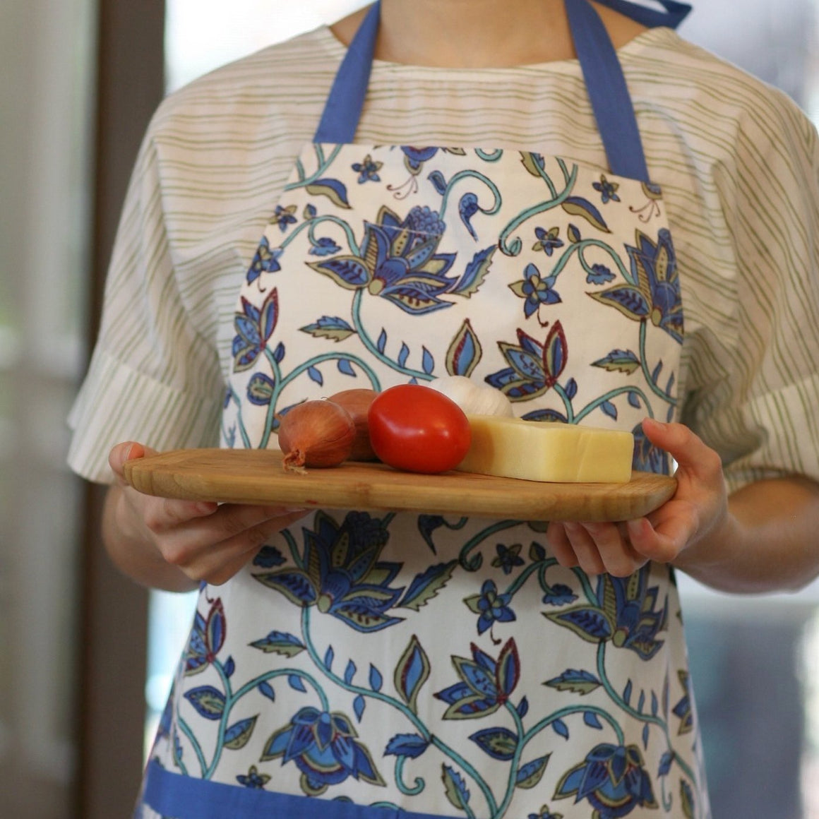 Apron in Block Printed Organic Cotton -  Nambour Blues Print