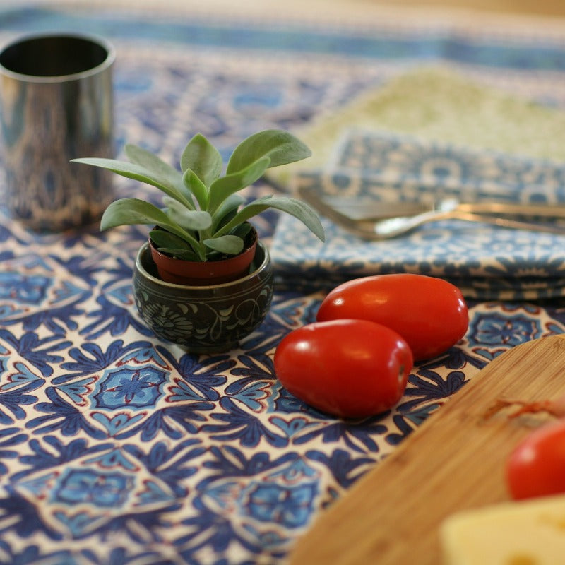 Tablecloth Square in Hand Block Printed Organic Cotton - Nambour Blues
