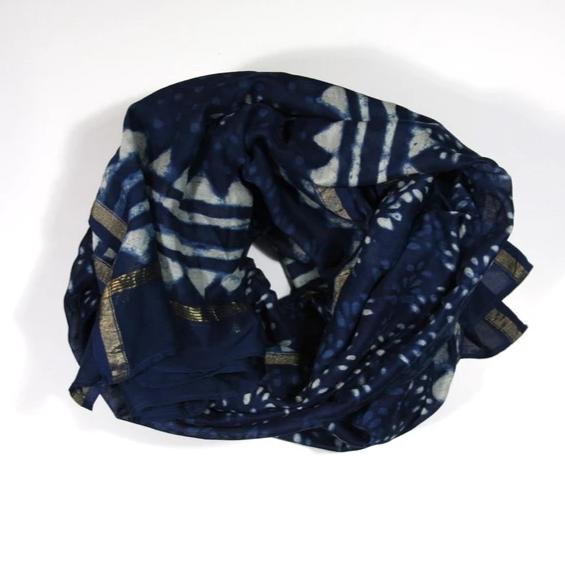Scarf Wrap in Hand Block Printed Cotton Silk - Indigo Buti Print
