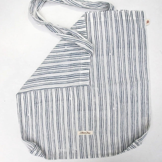 Book Bag in Hand Block Print - Navy Stripes