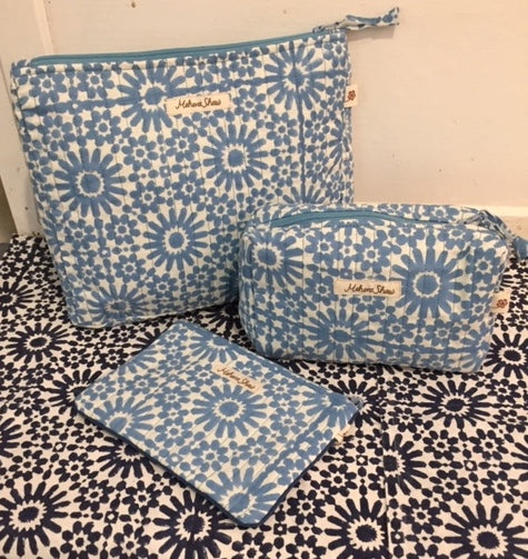 Travel Pouch Set in Moroccan Sky Print