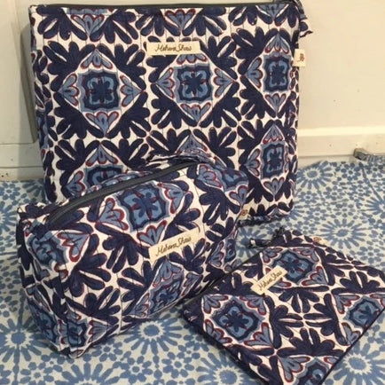 Travel Pouch Set in Moroccan Lotus Print