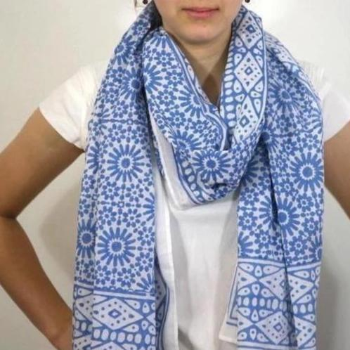 Scarf in Block Printed Mosaic Print
