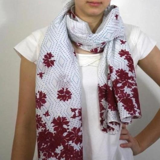 Scarf in Hand Block Printed Cotton - Festive Garden Print