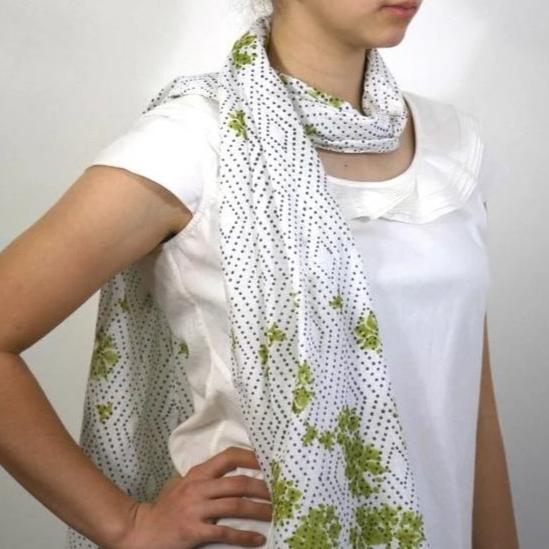 Scarf in Hand Block Printed Organic Cotton - Tea Garden Print