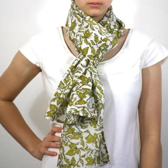 Scarf in Hand Block Printed Cotton Silk in Tatjana Butterfly Print