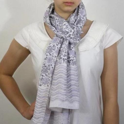 Scarf in Hand Block Printed Organic Cotton - Serendipity Print