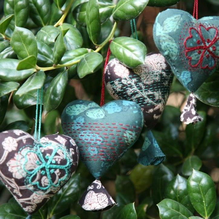 Holiday Heart Ornaments - Earth Tones