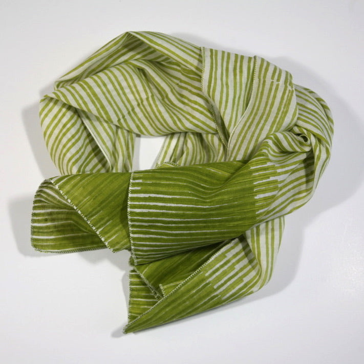 Scarf in Hand Block Printed Cotton Silk - Meadow Green Stripes Print