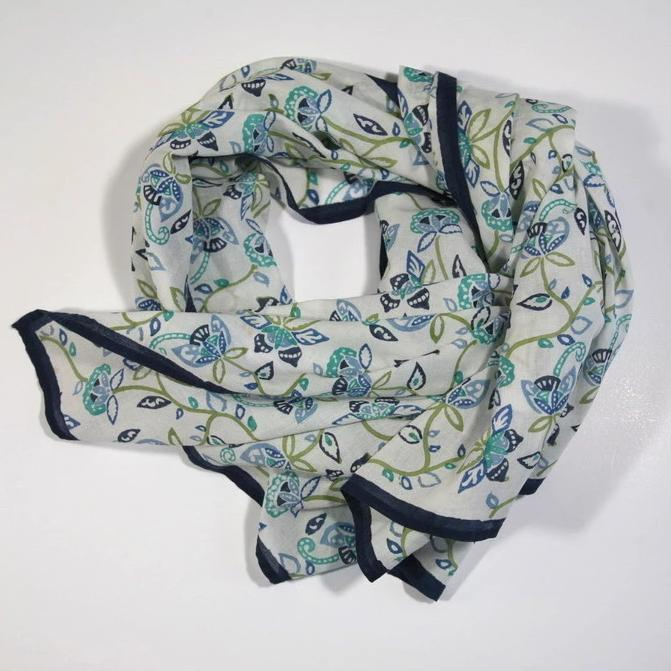 Scarf in Spring Vine Hand Block Printed Organic Cotton