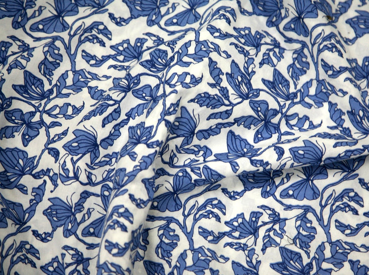 Organic Cotton Screen Printed - Azul print by Mehera Shaw