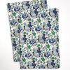 Kitchen Towels in Hand Block Printed Organic Cotton - Floral Blues Print