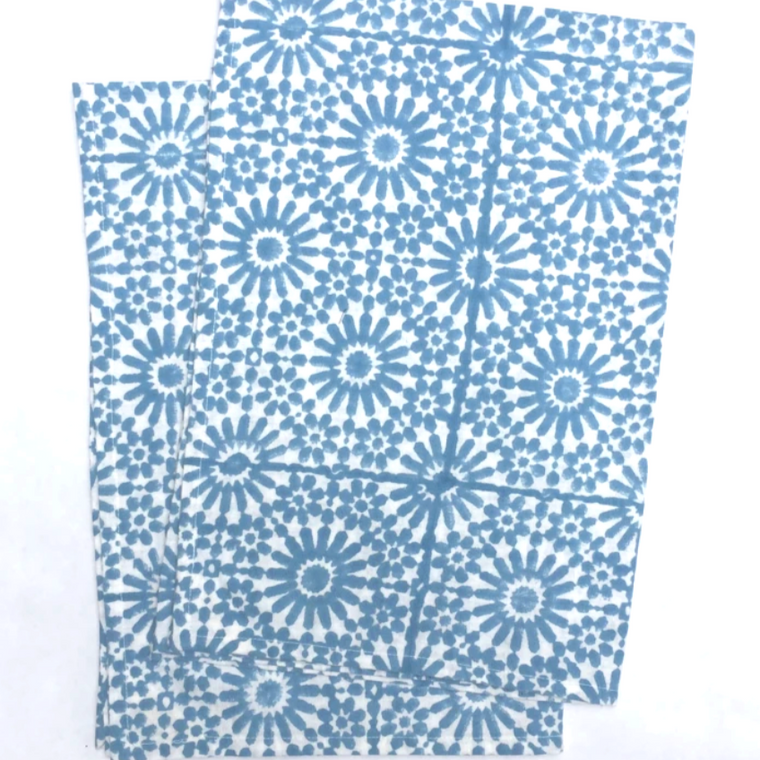 Kitchen Towels in Hand Block Printed Organic Cotton - Moroccan Sky Tile Print