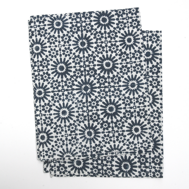 Kitchen Towels in Hand Block Printed Organic Cotton - Moroccan Tile Print
