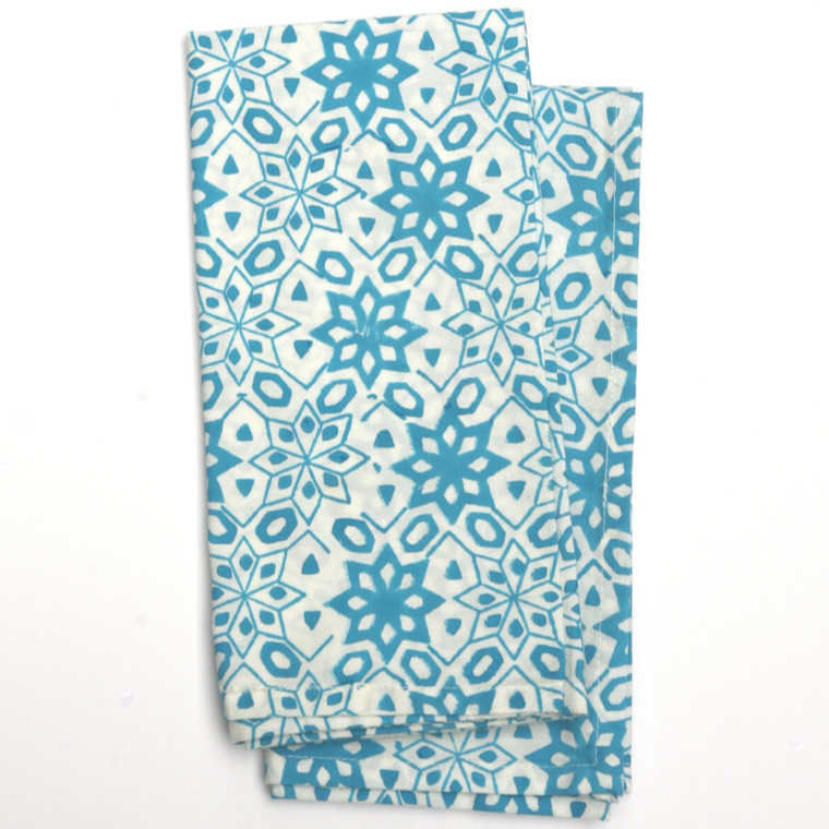 Napkin Set in Hand Block Printed Organic Cotton - Tabriz Turquoise Print
