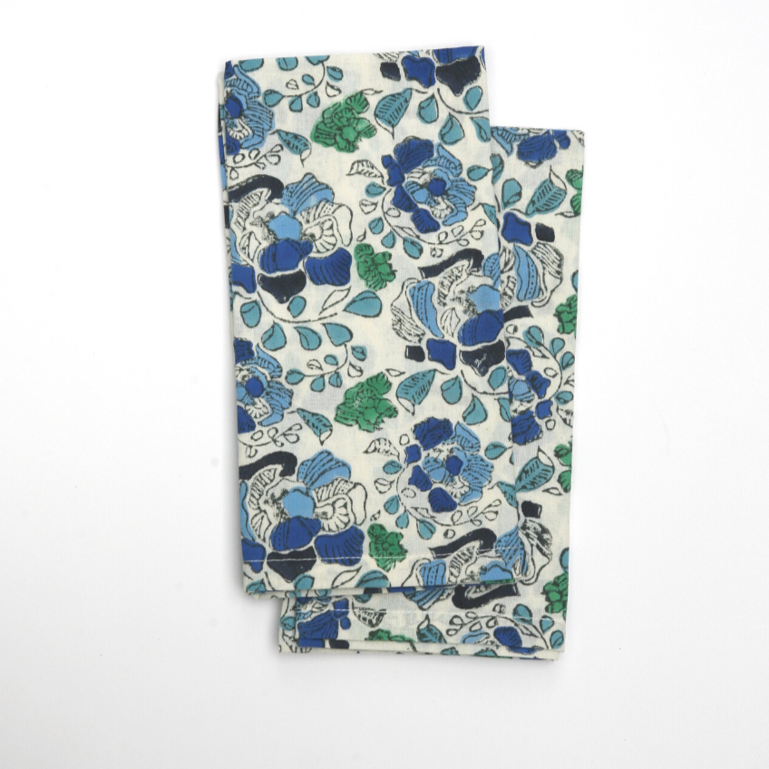Napkin Set in Block Printed Floral Blues