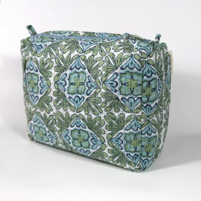 Travel Bag in Lotus Turquoise Hand Block Print