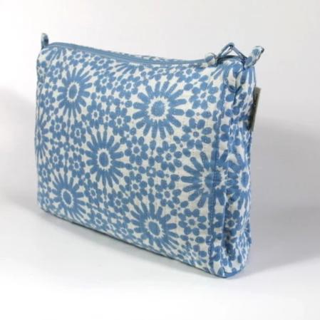 Travel Bag in Moroccan Sky Hand Block Print, Compact Size