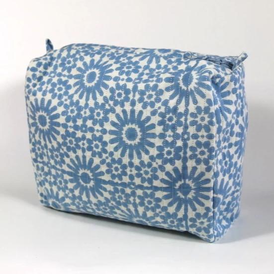 Travel Bag in Moroccan Sky Hand Block Print