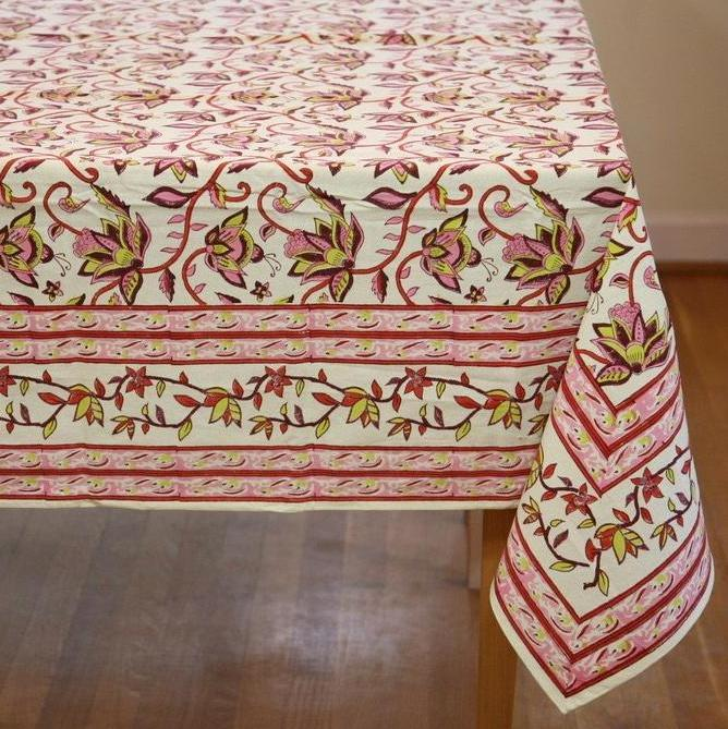 Table Cloth in Hand Block Nambour Pinks