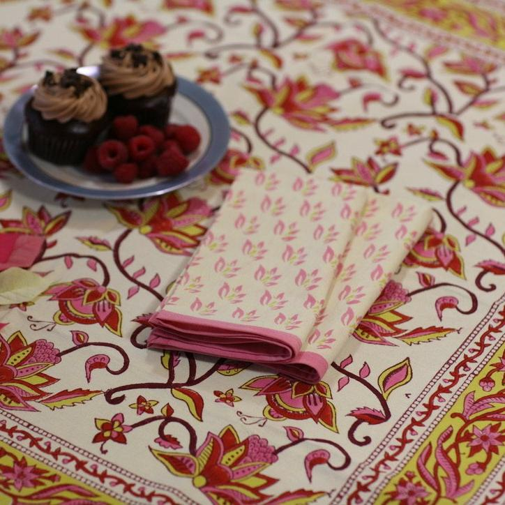 Tablecloth Square in Hand Block Printed Organic Cotton - Nambour Pinks