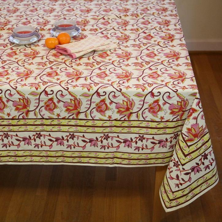 Table Cloth in Hand Block Nambour Pink and Yellow