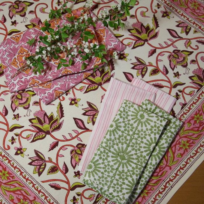 Tablecloth Square in Hand Block Printed Organic Cotton -  Nambour Berry Pink