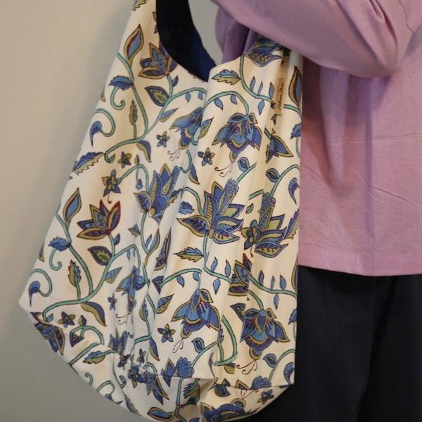 Twill Tote Bag in Block Printed Organic Cotton