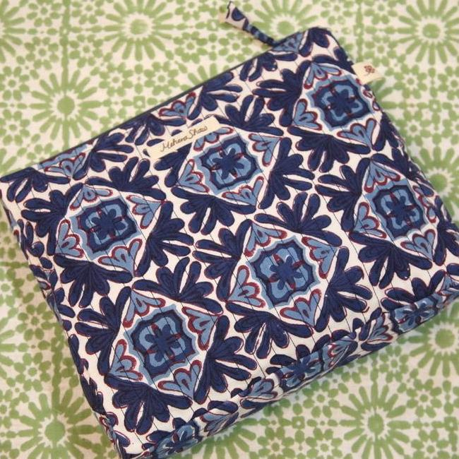 Quilted Cosmetics Pouch in Moroccan Lotus Print